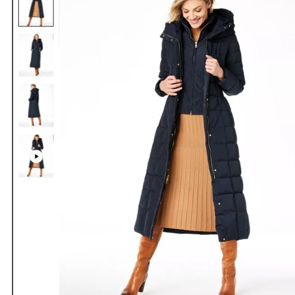 Cole Haan Navy Hooded Down Maxi Puffer Coat